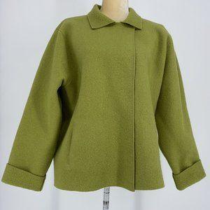 Eileen Fisher  Wool/nylon Coat With Pockets Sz L